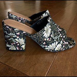 Urban Outfitters Floral Peep-Toe Mule Heels
